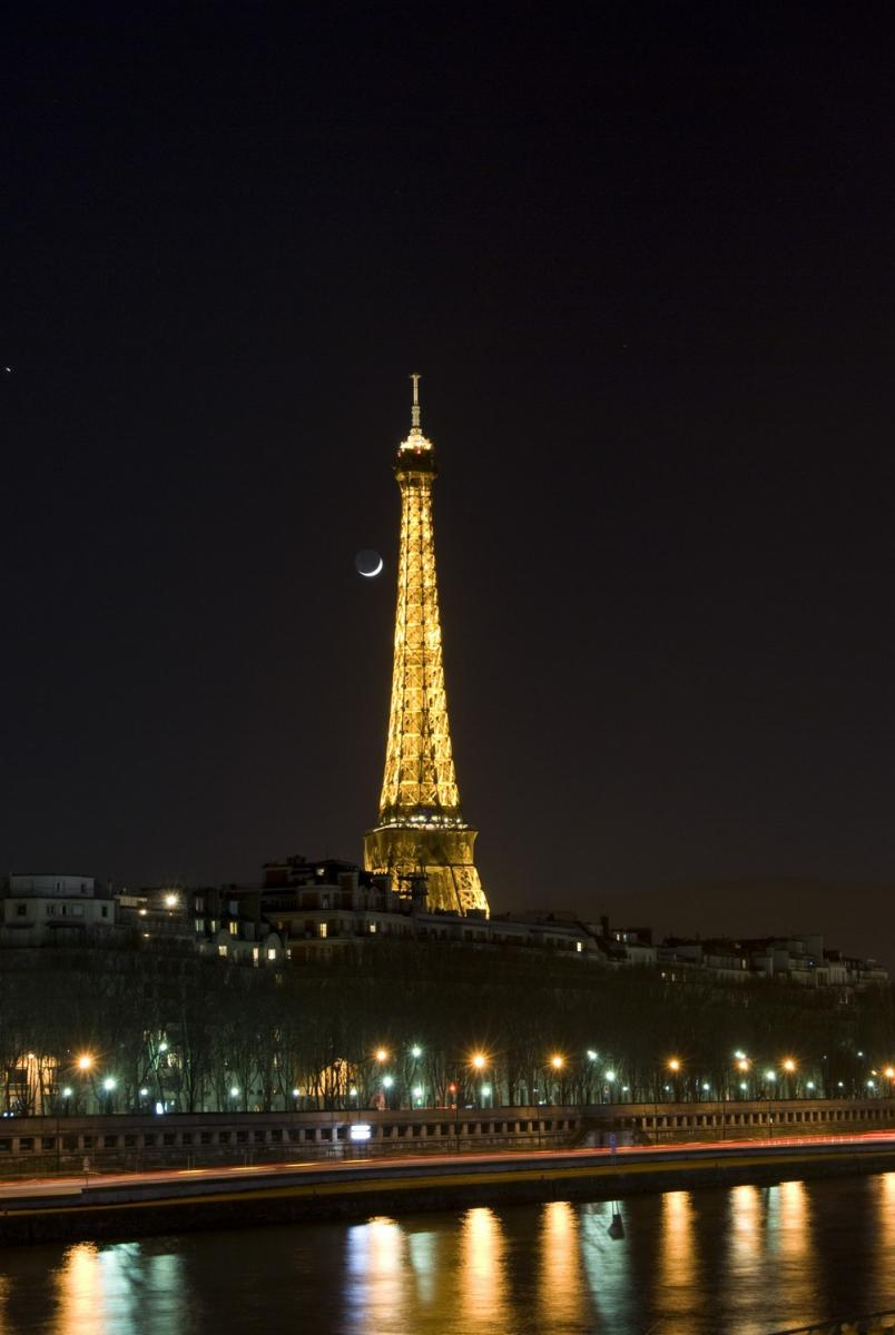 The Eiffel Tower and the Moon by night