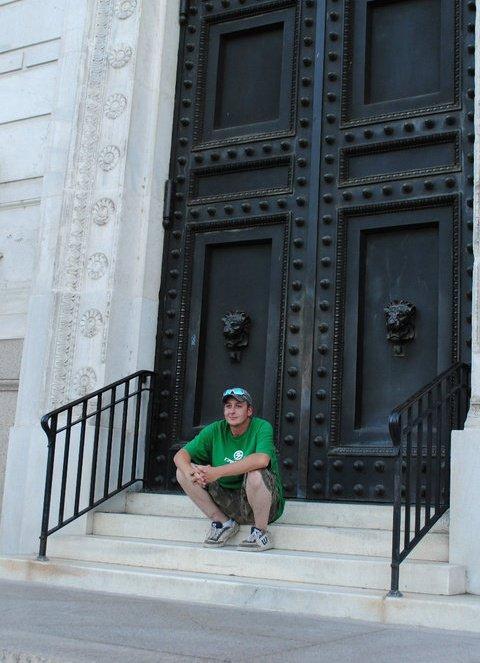 me on some steps
