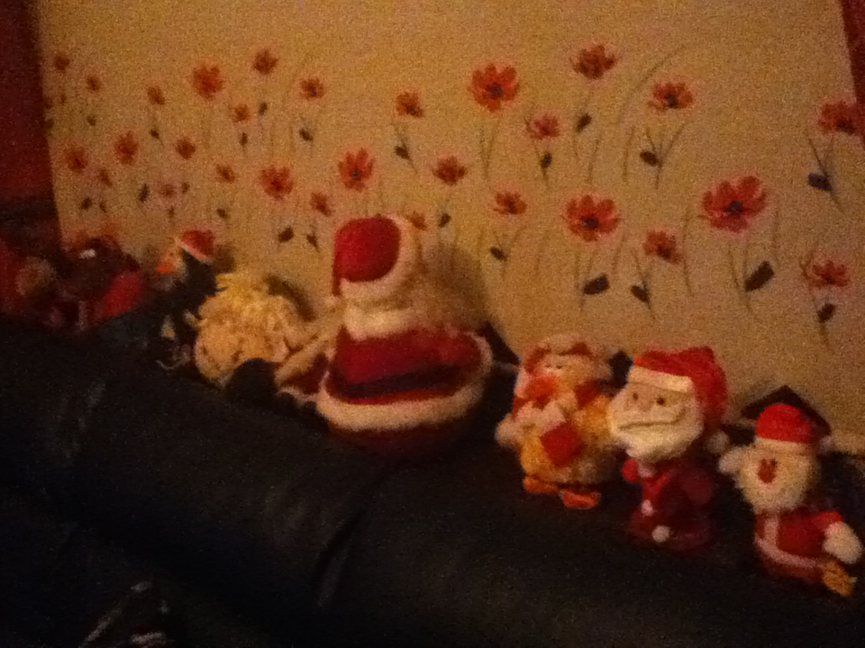 Only a few of many Santa decorations