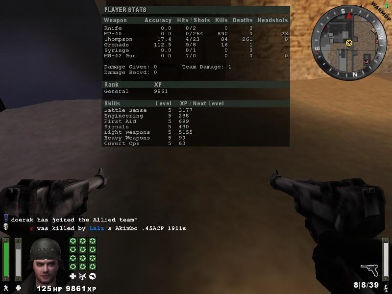 0 hits 264 shots equals 890kills