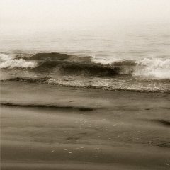 """Black and White shot of """"Beach #2"""" on Pacific Ocean."""
