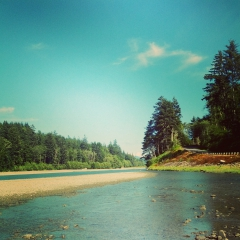 Hoh River, looking downstream from the delta. Pacific Ocean inlet.