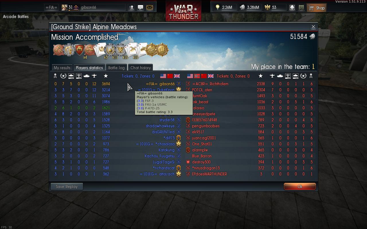 War thunder kill streak