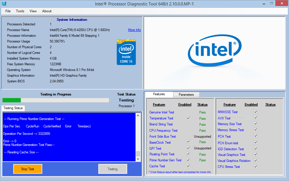 Intel Processor Diagnostic Windows 7 64-BIT